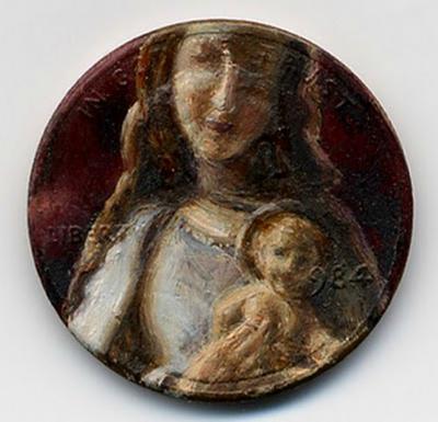 لوحات زيتية دقيقة ومدهشة على العملات المعدنية الصغيرة  Penny-paintings6-550x530