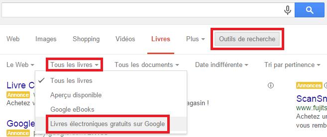 Afficher que des livres numériques gratuits dans Google