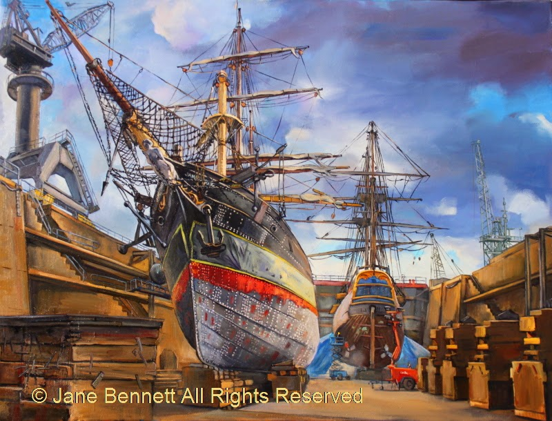 "Marine art - plein air oil painting of  ""HMB Endeavour with 'James Craig ' in Garden Island dry dock"" by Jane Bennett"