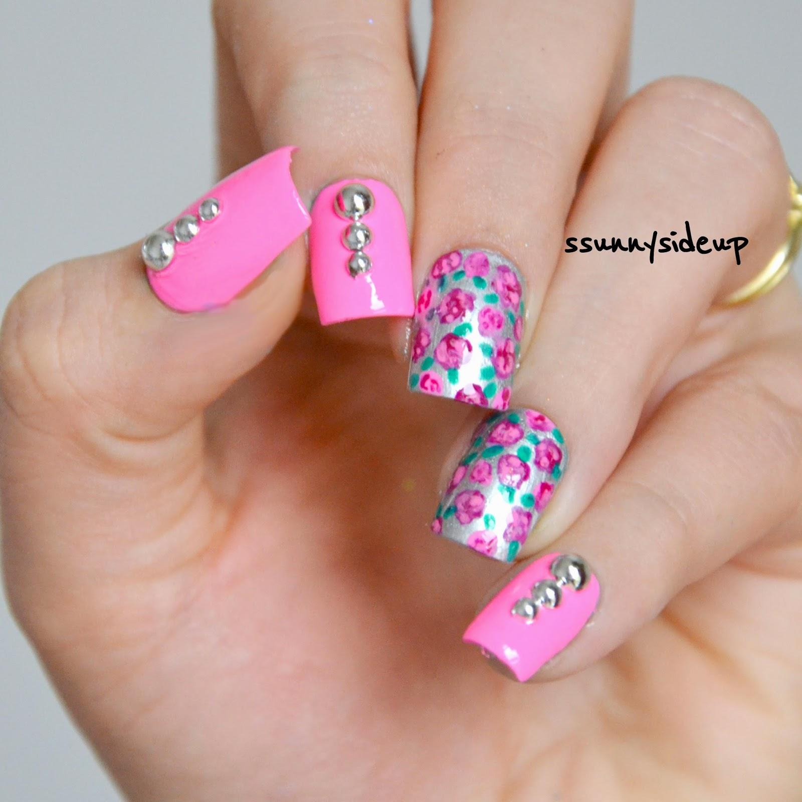 Ssunnysideup Spring Awakening Pink Floral Nail Design With Studs