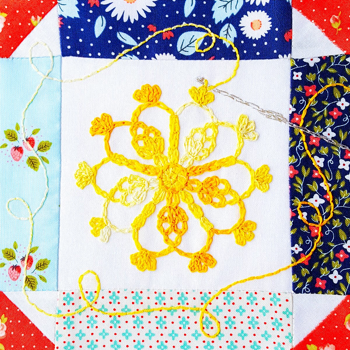 Crochet Quilt Block Patterns : Chain stitching in embroidery and crochet - My block for the Splendid ...