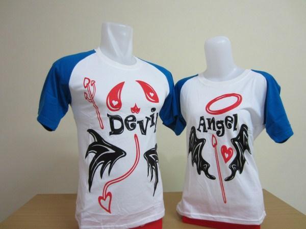 desain kaos couple devil angel lengan pendek