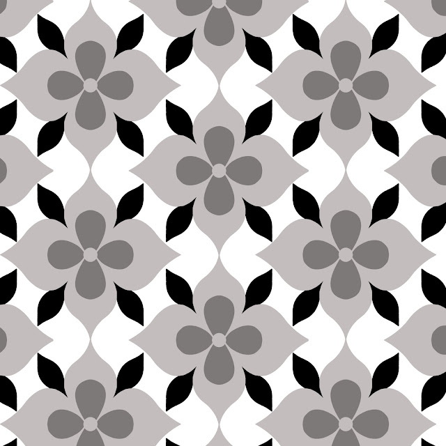 Black and white graphic design file of the COCOCOZY Coco's Flower print
