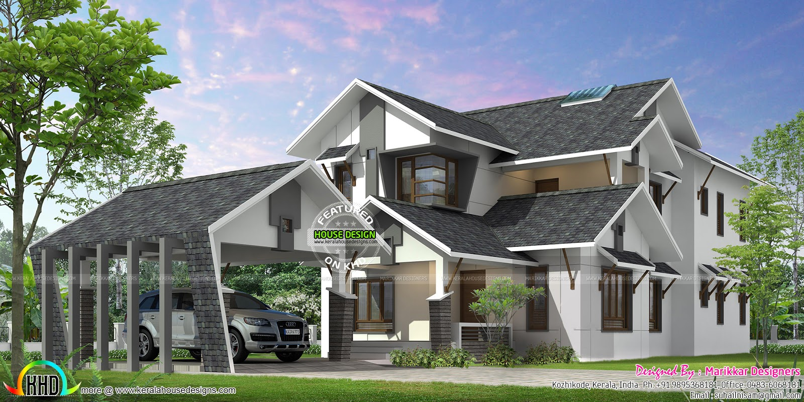 Beautiful kerala ultra modern house plan kerala home for Ultra modern house