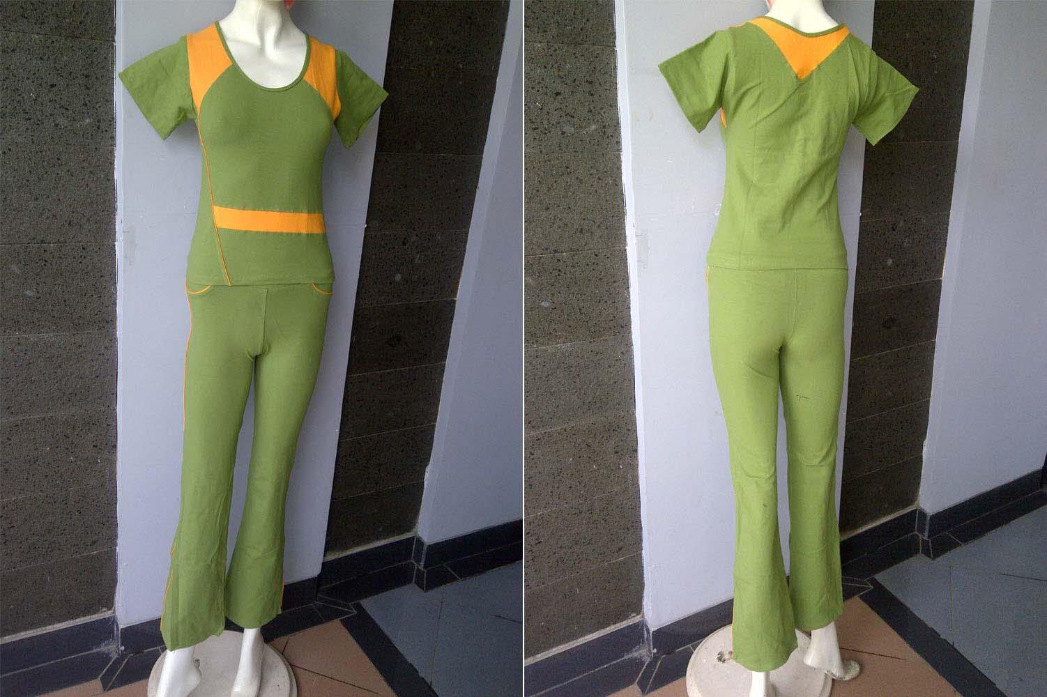 Model Baju Aerobik Wanita Warna Hijau Murah