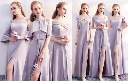 2017 6-Design Gray Chiffon Maxi Bridesmaids