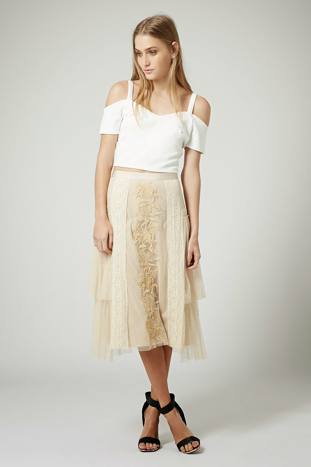 cream tulle embroidered skirt, topshop mesh cream skirt,