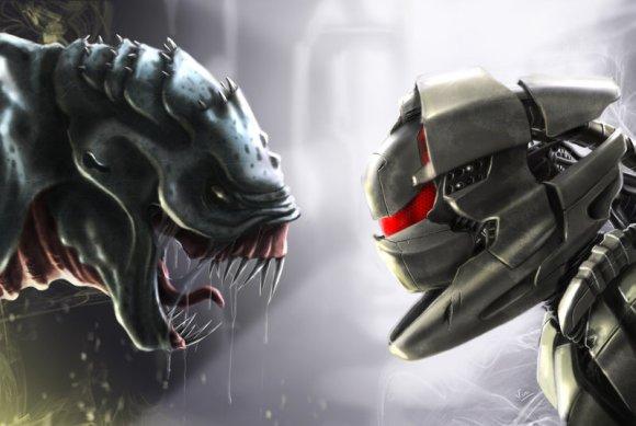 vincent ptitvinc deviantart ilustrações artes conceituais fantasia futurista robôs tecnologia Robô vs. monstro