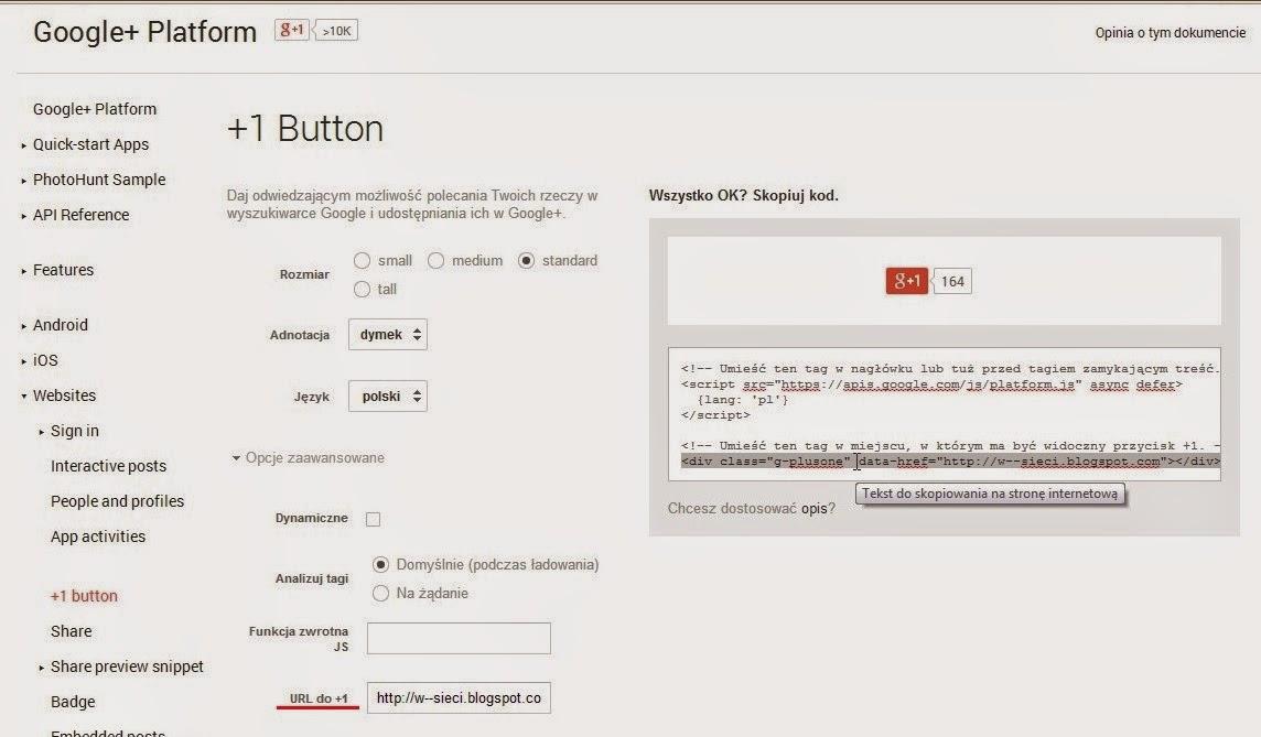 Google Plus - tworzenie +1