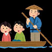 川下り・渡し船のイラスト