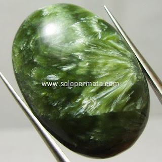 Batu Permata Green Seraphinite Bulu Macan/Monyet - Kode 05A01