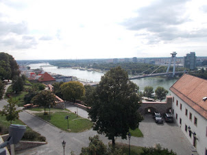View of Bratilava from the Castle. Bridge connects the River Danube that divides the city.