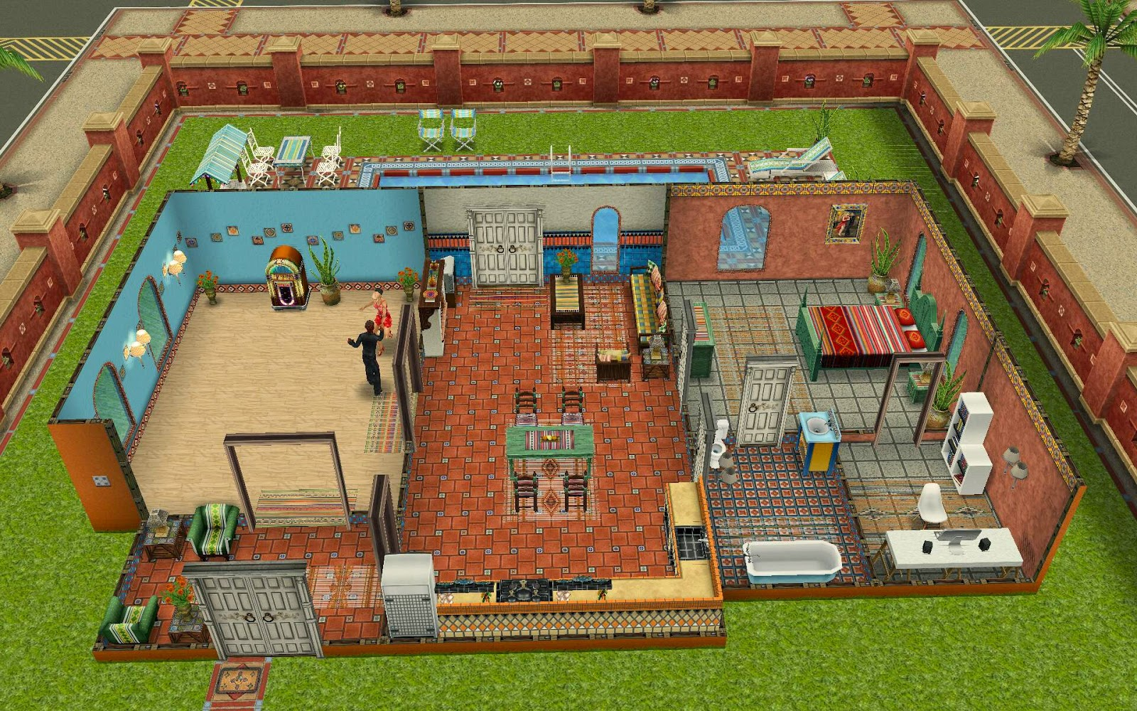 Sims freeplay housing latin villa for Casa de diseno the sims freeplay