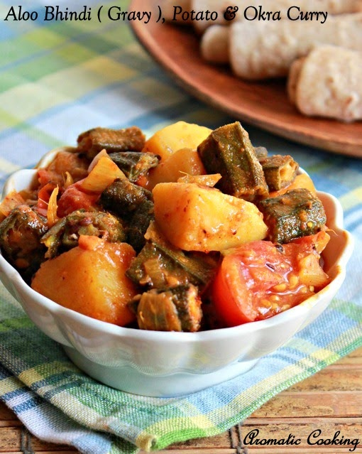 aloo bhindi ( gravy ), okra and potato curry, vendakkai urulaikizhangu curry