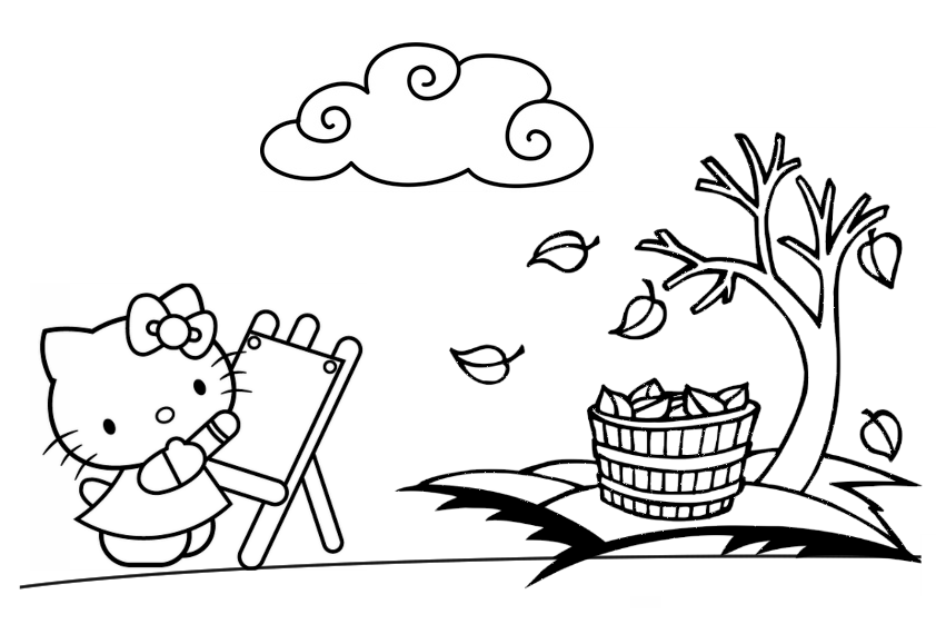 hello kitty fall coloring pages mad about kitty september 2012