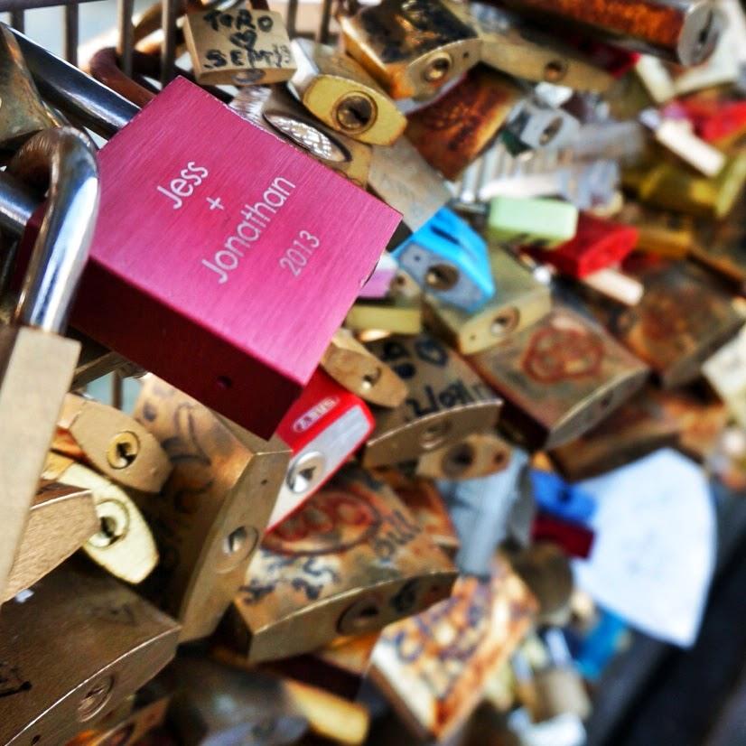 Love locks on the Pont des arts in paris