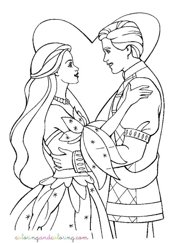 coloring barbie princess and prince