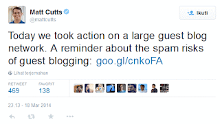 Tweet dari Matt Cuts yang menyatakan telah melakukan tindakan pada salah satu blog guest blogging