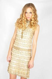 Vintage 1960's gold and cream beaded and sequined lace mini cocktail dress.