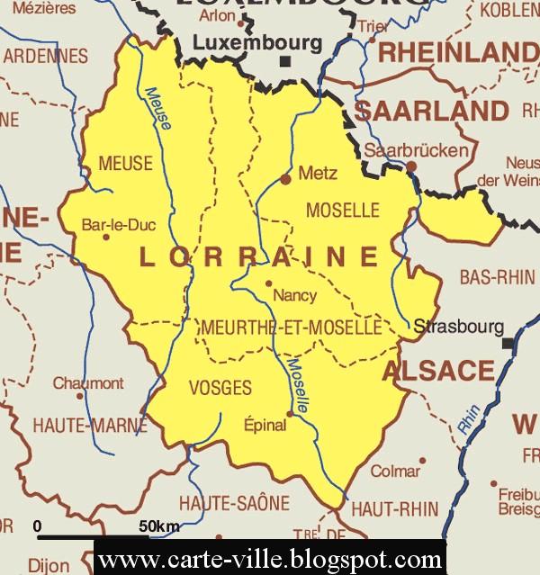 Lorraine r gional carte de la ville carte r gional de la for Piscine lorraine