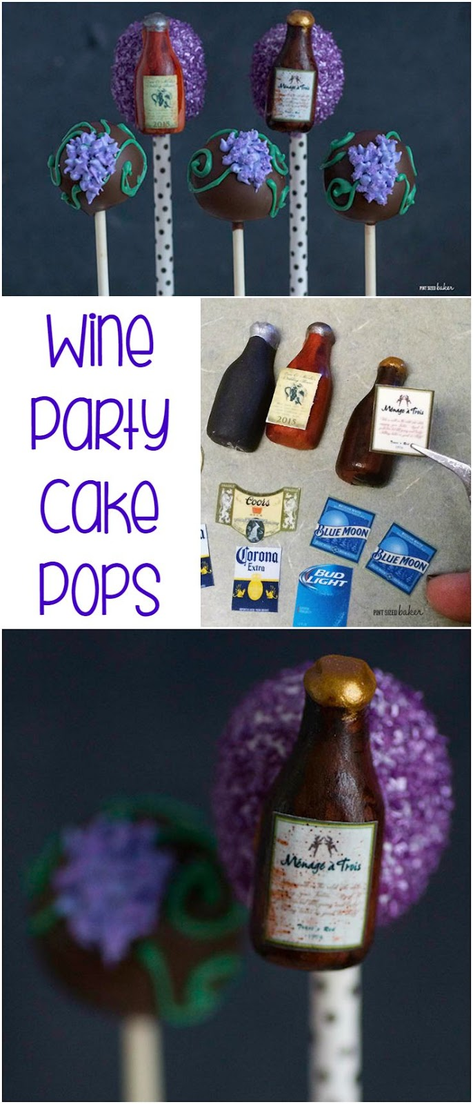 Enjoy a wine party with these fun Wine Bottle Cake Pops for you next girls night in. They also make a great wedding favor!