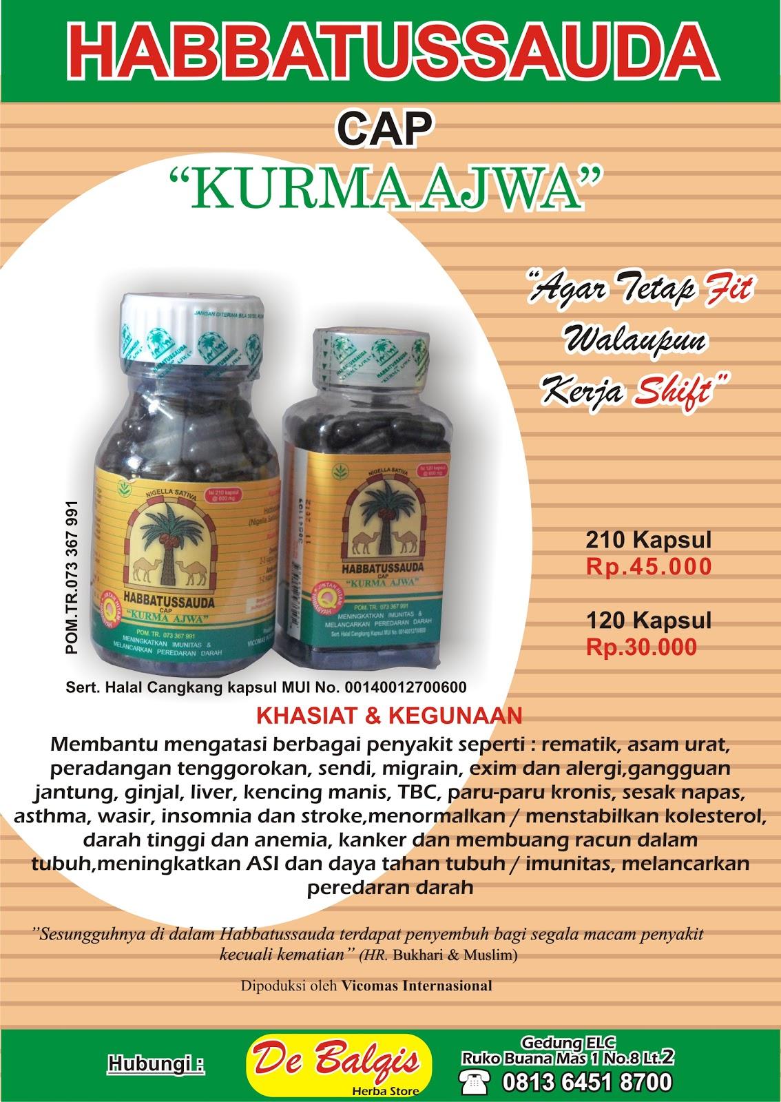 Jual Habbatussauda Ajwa 120 Kapsul Cap Kurma Debalqis Herba Store
