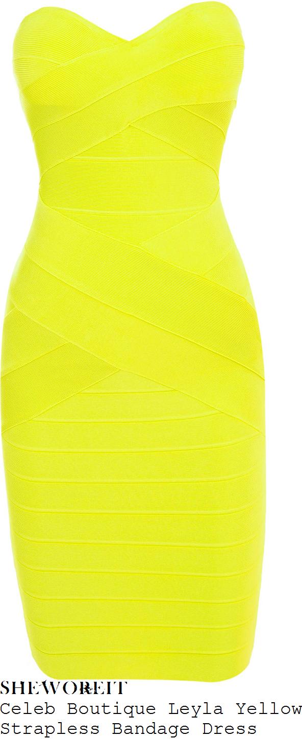 vicky-pattison-bright-yellow-strapless-bodycon-bandage-dress