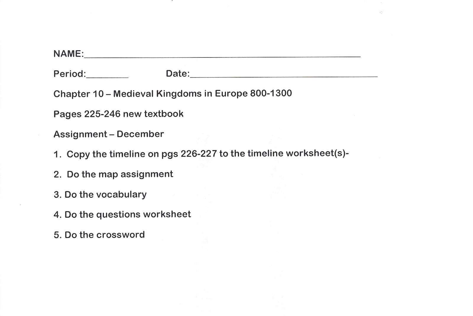 worksheet Europe Worksheets mr es world history page chapter 10 medieval kingdoms in 14 middle ages summary worksheets 15 vocabulary and questions with some answers