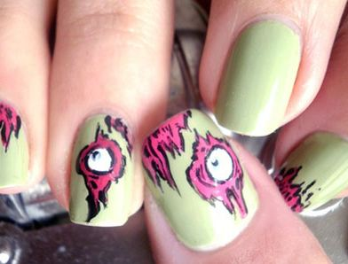 simple easy  scary halloween nail art tutorials 2014 for