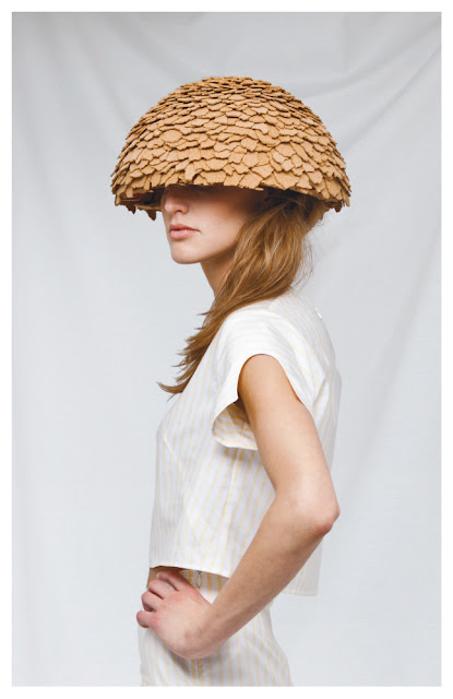 White shirt with weaved hat