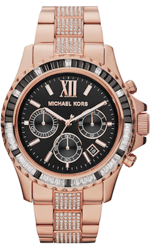 Michael Kors 'Everest' Baguette Crystal Bezel Bracelet Watch, 42mm