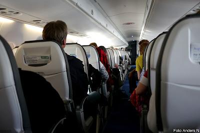 flygplan, inuti, interiör