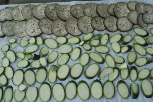 Salting the eggplant and zucchini