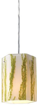 ELK 19041/1 Modern Organics 1 Light Pendant In Green Sawgrass Material In Polished Chrome