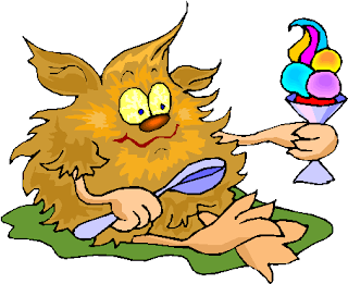 Yellow Hairy Creature Eating Ice Cream Free Clipart