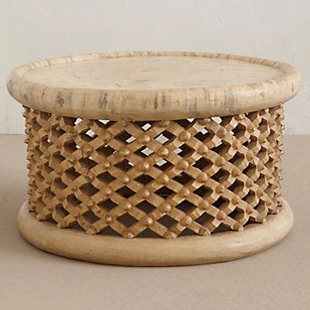 Anthropologie Lattice Drum Coffee Table