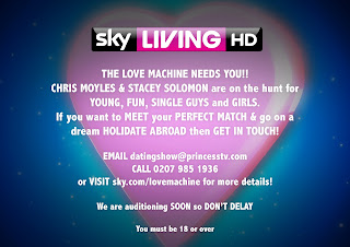 Sky Living dating show The Love Machine presented by Stacey Soloman and Chris Moyles