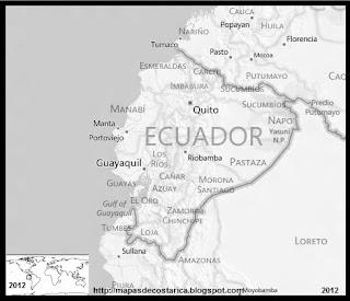 Mapa de ECUADOR, BING, blanco y negro