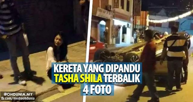 Tasha Shila terlibat kemalangan, Kereta yang dipandu terbalik (4 Foto)