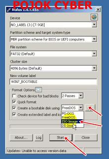 Menentukan file ISO pada RUFUS