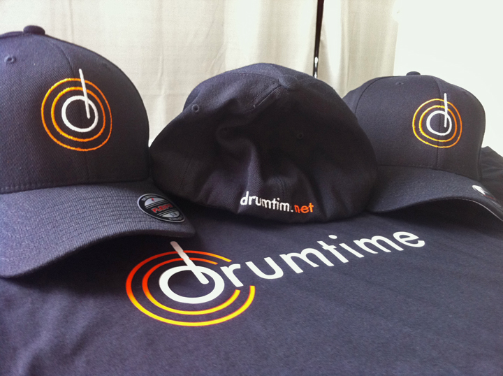 Drumtime embroidered hats and heat pressed t shirts for Heat pressed t shirts