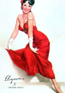 Elvgren Lady in red pin up girl mentioned 60s