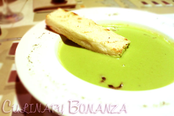Green Peas Cream Soup with Diced Pork Knuckle