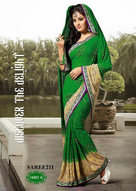 Buy Printed Saree Georgette with Heavy Maharani Lace