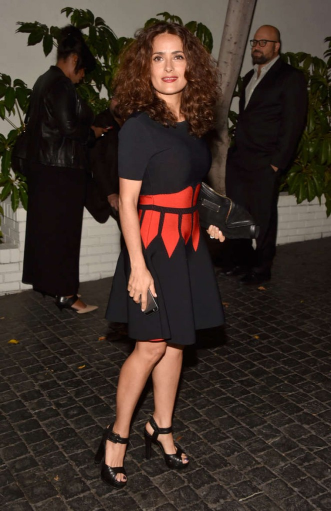 Salma Hayek in head to toe Alexander McQueen at the W Magazine's 2015 Golden Globes Celebration in LA