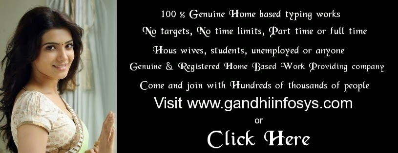 Online and Offline Genuine Home Based Data Entry Jobs work from Home without Investment Registration Fees in India. For more details please visit www.gandhiinfosys.com or click here