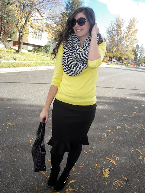 black and yellow, jcrew sweater, sweater, cashmere, ankle boots, ankle booties, frill skirt, tullip skirt, forever 21, tights, opaque tights, work wear,