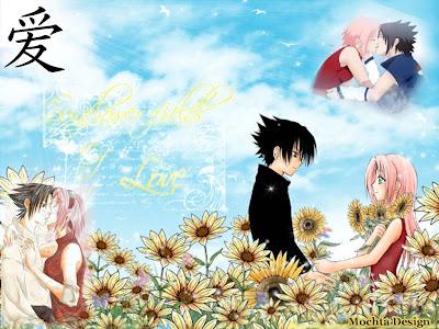 Naruto besando a sakura