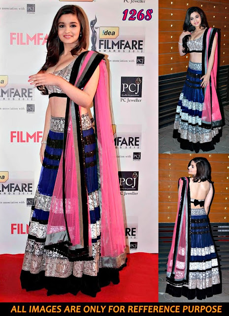 Buy Alia Bhatt Blue Net Filmfare Awards Lehenga Choli Online
