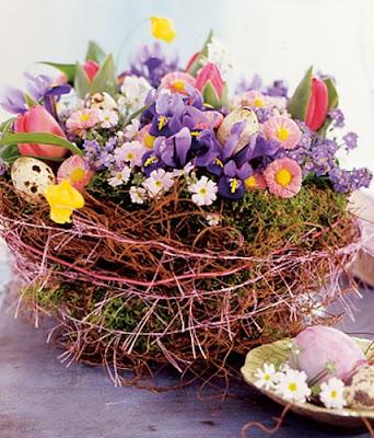 Ideas sobre decoración de Primavera (Canasta con Flores)